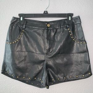 Love Riche Black faux leather Gold studded shorts